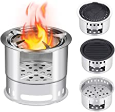 TimmyHouse Camping Stove Stainless Wood Steel Wood Burning Stove W/Carry Bag Outdoor BBQ