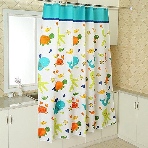 Duschvorhang Anti-Schimmel, Schildkröte und Fische Wasserdicht Polyester Duschvorhang mit verstärktem Saum, mit Haken 120/150/180/200/220/240 x 200cm