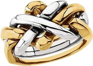 Bonyak Jewelry 18k Yellow Gold & White 12.5 mm Men's 4-Piece Puzzle Ring - Size 11