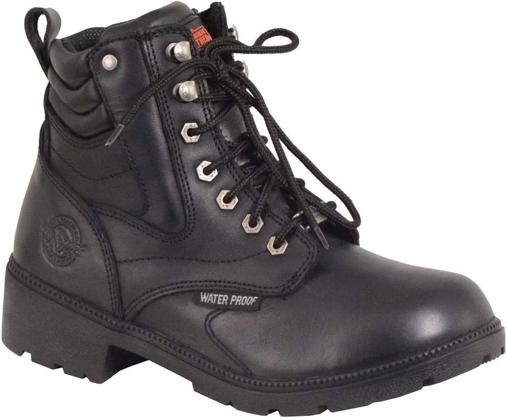 Milwaukee Leather MBL9321WP Womens Black Waterproof Lace-Up Boots with Side Zipper 10
