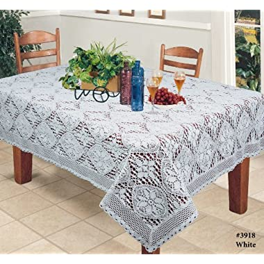 Crochet Lace Tablecloth 60x104  Rectangular Knitted Table Cloth White Cotton by Creative Linens