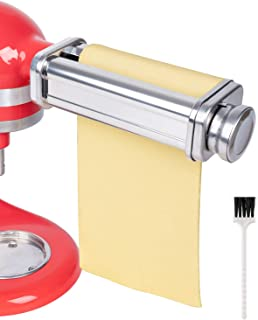 X Home Pasta Roller Attachment Compatible with KitchenAid Stand Mixers, Stainless Steel Pasta Maker Accessory, Including Cleaning Brush