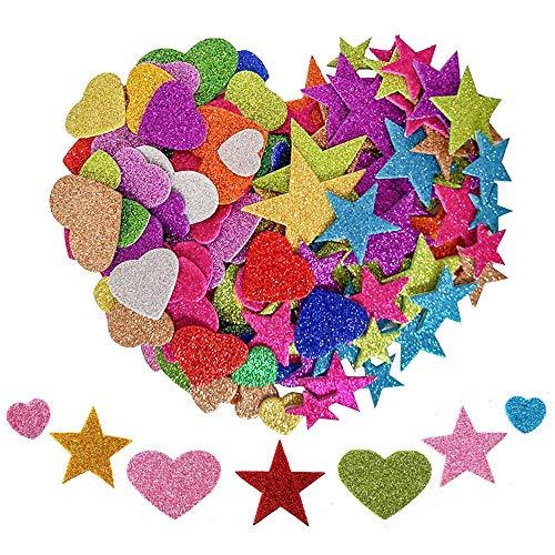 KANOSON Glitter Schaumstoff Aufkleber 150 Stück, Farben Selbstklebend Stern und Herz Sticker,Schaumstoff Sticker Set für Kinder/Wand Dekoration/Basteln/Fertigkeit Dekorativ