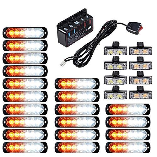 20PCS Ultra Slim 6-LED 18W Emergency Hazard Caution Surface Mount Strobe Light & 8pcs Car Truck Grille Deck Dash Flashing Light - Amber White