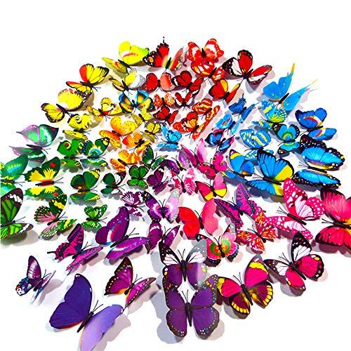 3D Schmetterlingswandaufkleber, Wandaufkleber und Magnete zum Dekorieren von Wohnungen, Balkonen usw. (12 blau + 12 grün + 12 gelb + 12 rosa + 12 rot + 12 lila + 24 gemischte Farben) (Schmetterling)