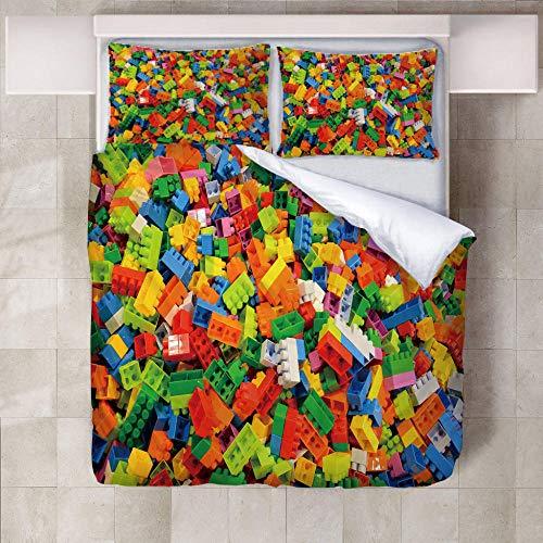 WXhGY Housse de Couette Coloré 140x200cm Blocs De Lego 3 Pièces Impression Ensemble de Literie,Housse Couette en Microfibre avec Fermeture Éclair + 2 Taies d'oreiller 50x75cm pour Adulte Enfants