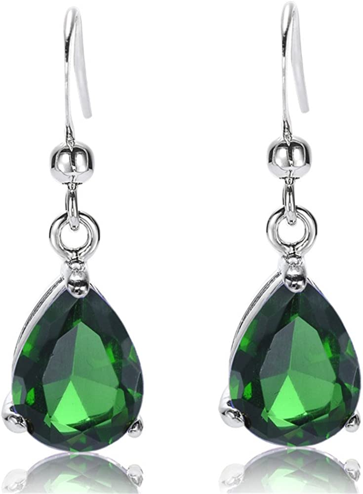 RIZILIA Dangle Drop Pierced Earrings with Pear Cut CZ [7 Colors available] in White Gold Plated, Simple Modern Elegant