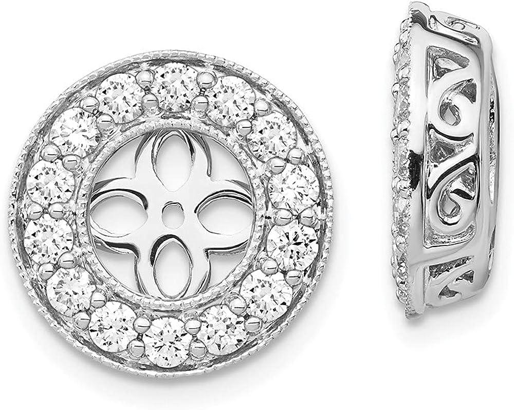 14k White Gold True Origin Lab-Grown Diamond Earrings Jackets, (Clarity- VS, Color- E, 0.98 cttw)