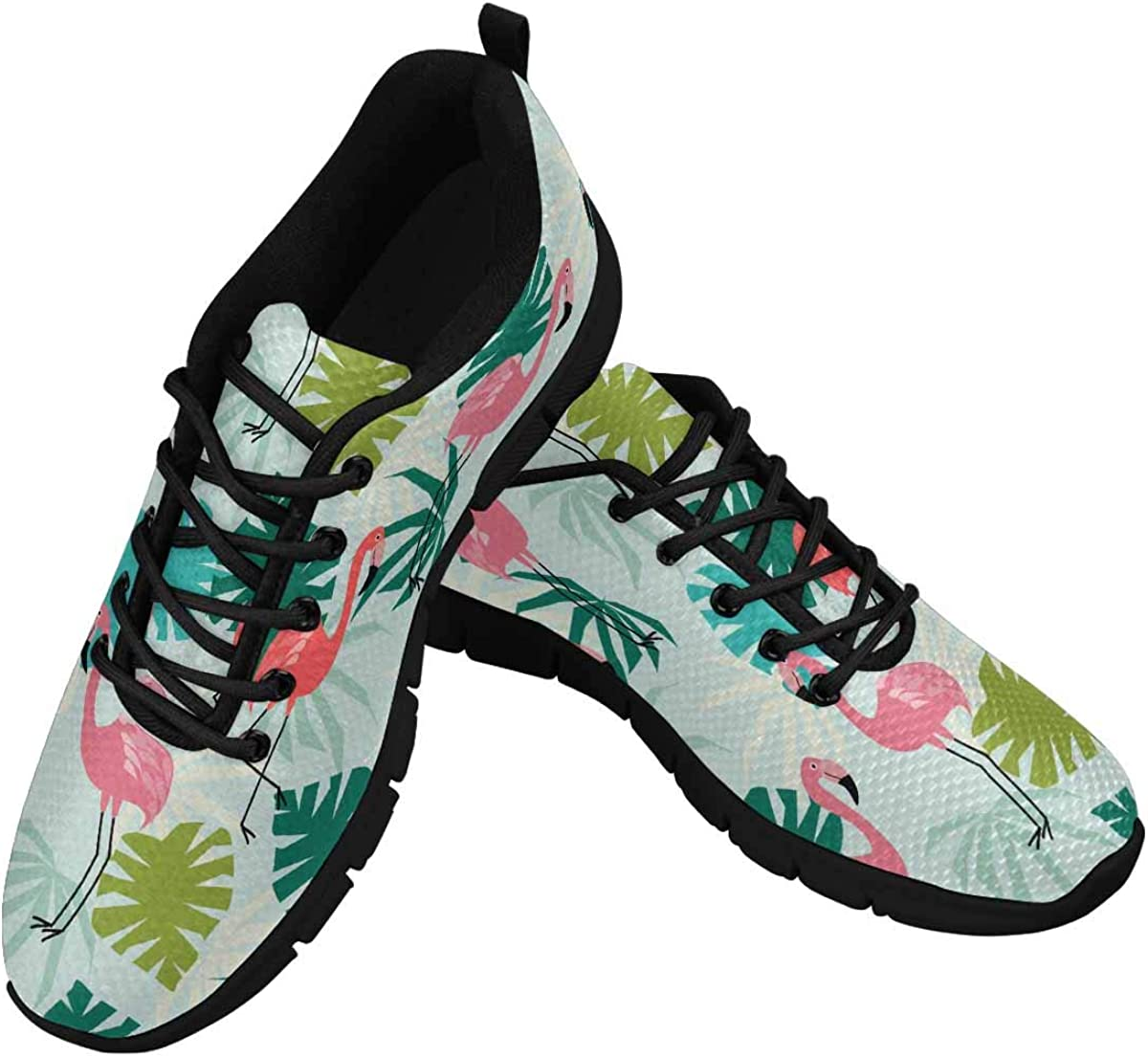 INTERESTPRINT Flamingo and Tropical Leaves Pattern Women's Lace Up Running Comfort Sports Sneakers