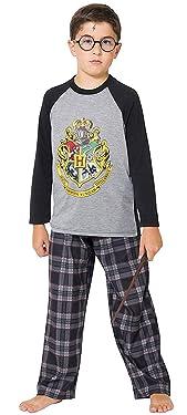 INTIMO Big Boys Harry Potter Hogwarts School Crest Raglan Pajama Set