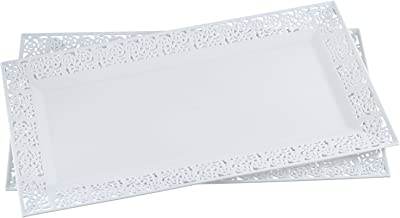 "Silver Spoons and More,white Lace Rim 14""x7.5"" Heavyweight Plastic Set of 2 Serving Trays"