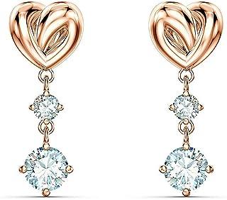 أقراط كريستال Lifelong Heart المثقوب للنساء من SWAROVSKI، أبيض، مطلية بالذهب الوردي