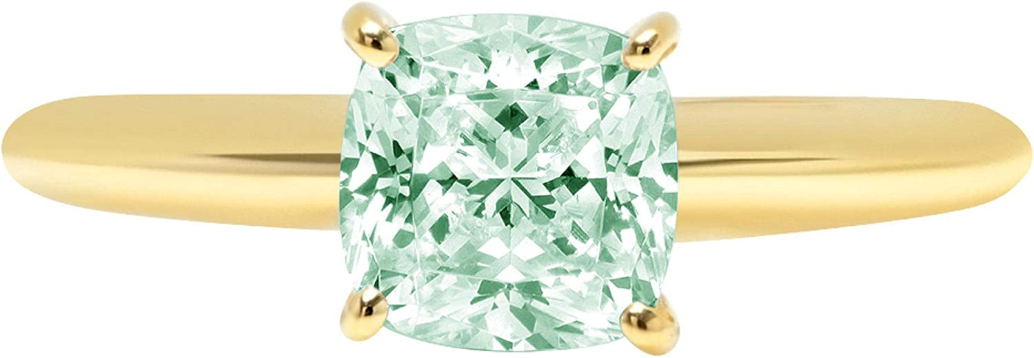 1.9ct Brilliant Cushion Cut Solitaire Light Sea Green Simulated Diamond Cubic Zirconia Ideal VVS1 D 4-Prong Engagement Wedding Bridal Promise Anniversary Ring Solid 14k Yellow Gold for Women