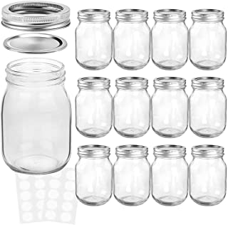 KAMOTA Mason Jars 16 OZ With Regular Lids and Bands, Ideal for Meal Prep, Jam, Honey, Wedding Favors, Shower Favors, Baby ...