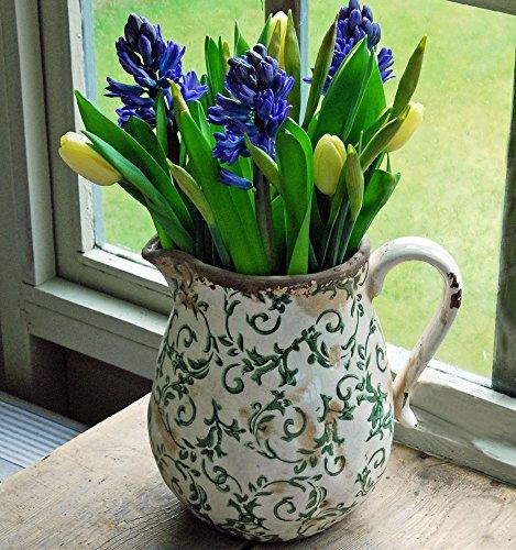 Hampton Vintage Antik Grün Floral Keramik Krug