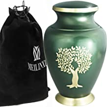 Funeral Urn by Meilinxu-Cremation Urn for Human Ashes Adult and Memorial- Brass with Hand Engraved Design- Display Burial Urn At Home or in Niche at Columbarium (Gold Tree of Life and Green, Large Urn