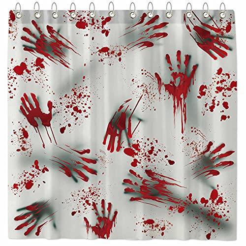 Funnytree Bloody Hand Shower Curtain Horror Halloween Blood Soaked Splashes Home Bathtubs Bathroom Curtain Decoration…