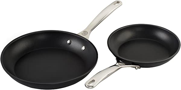 Le Creuset TNS6002 2 Piece Toughened Nonstick Fry Pan Set 8 10