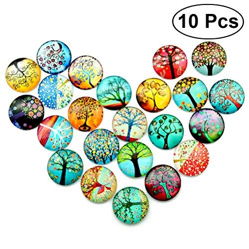 Ultnice Lot de 10 mosaïques de verre imprimées 12 mm pour fabrication de bijoux