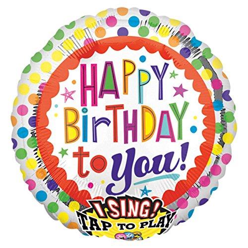 Amscan 2686901 - Sing-A-Tune Folienballon Happy Birthday to You, 71 x 71 cm, Geburtstag