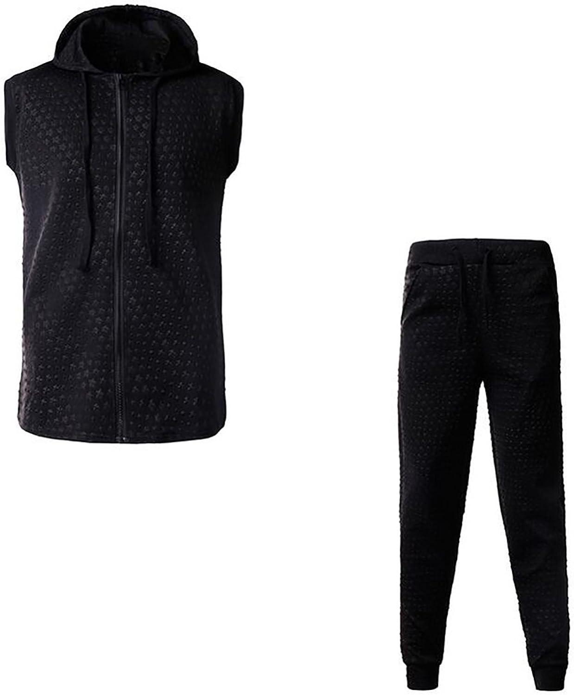 Jofemuho Men Casual Zip up Drawstring Jogger Pants Workout Sleeveless Emboss Vest Out Fit