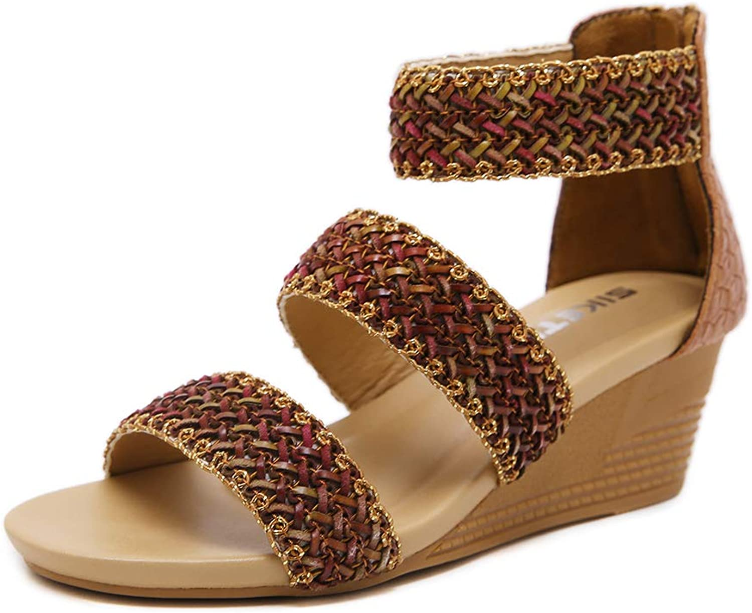 Baviue Womens Knitted Leather Zipper Sandles Summer Wedge Sandals