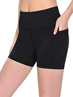 Women's High Waist Workout Running Yoga Shorts Side Pockets Tummy Control Athletic Shorts, Size S - XXL