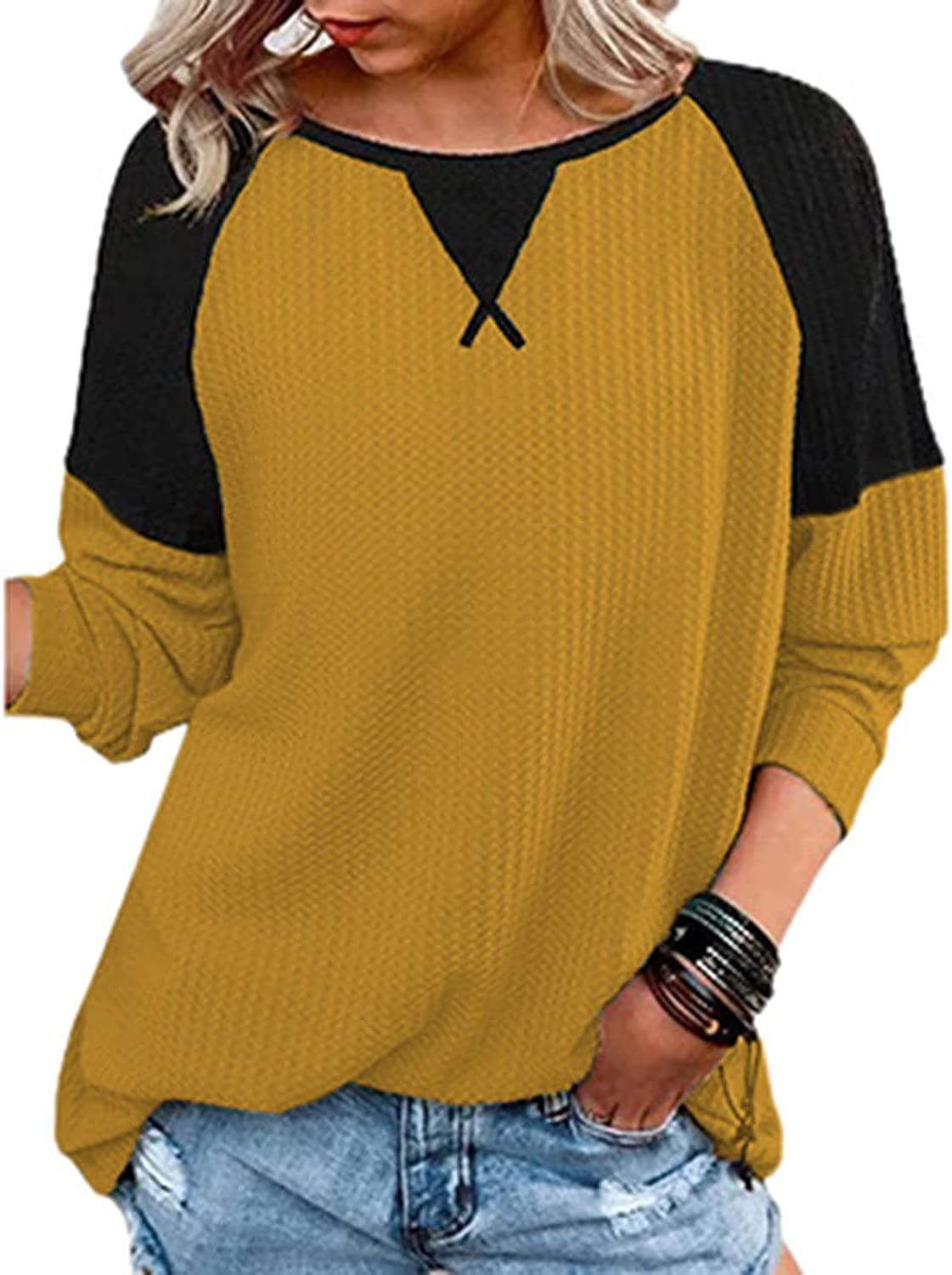 Waffle Knit Long Sleeve Shirts for Women Autumn Casual Patchwork Round Neck Fashion Tops Blouses Tee T Shirts