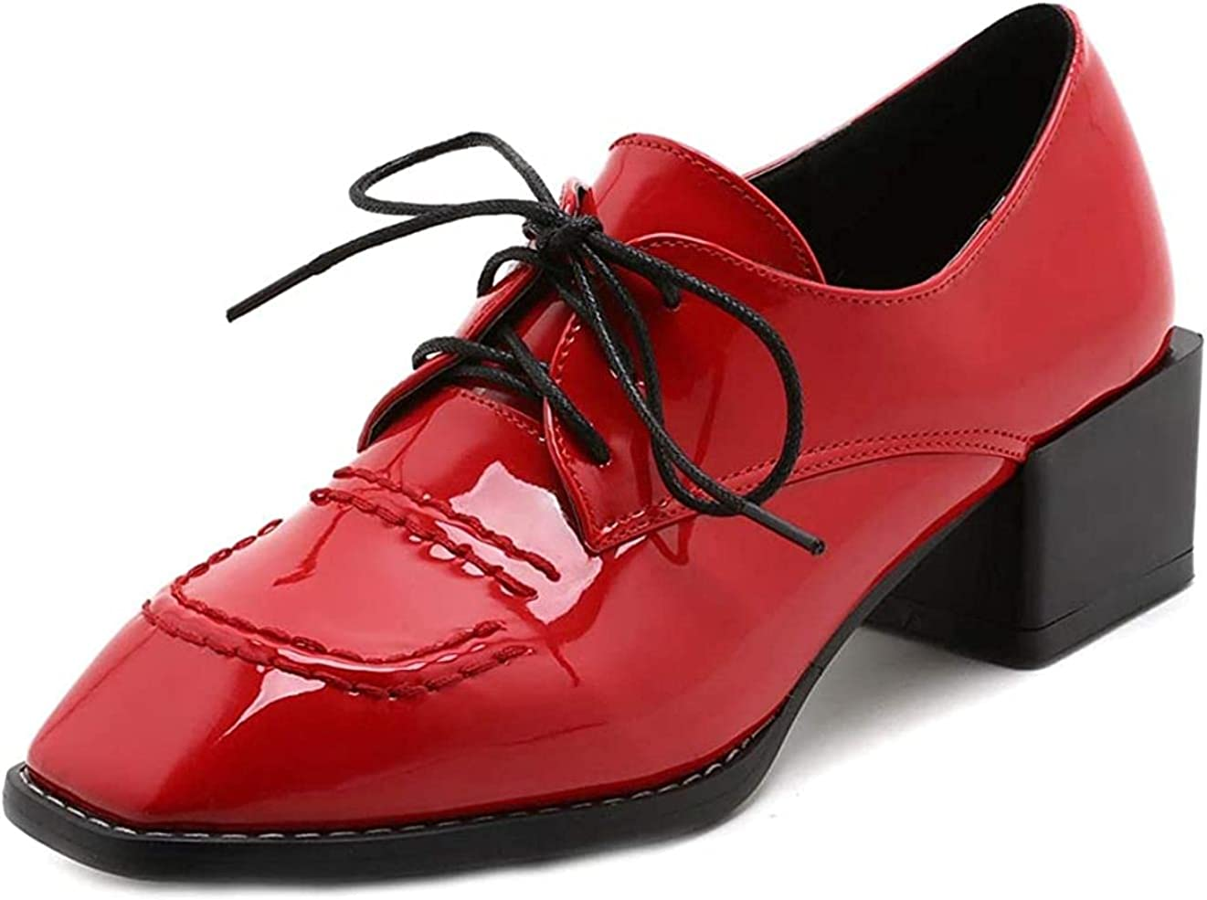 Women's Square Toe Lace Up OFFicial Oxford Leather School Shoes Patent Max 44% OFF Mi