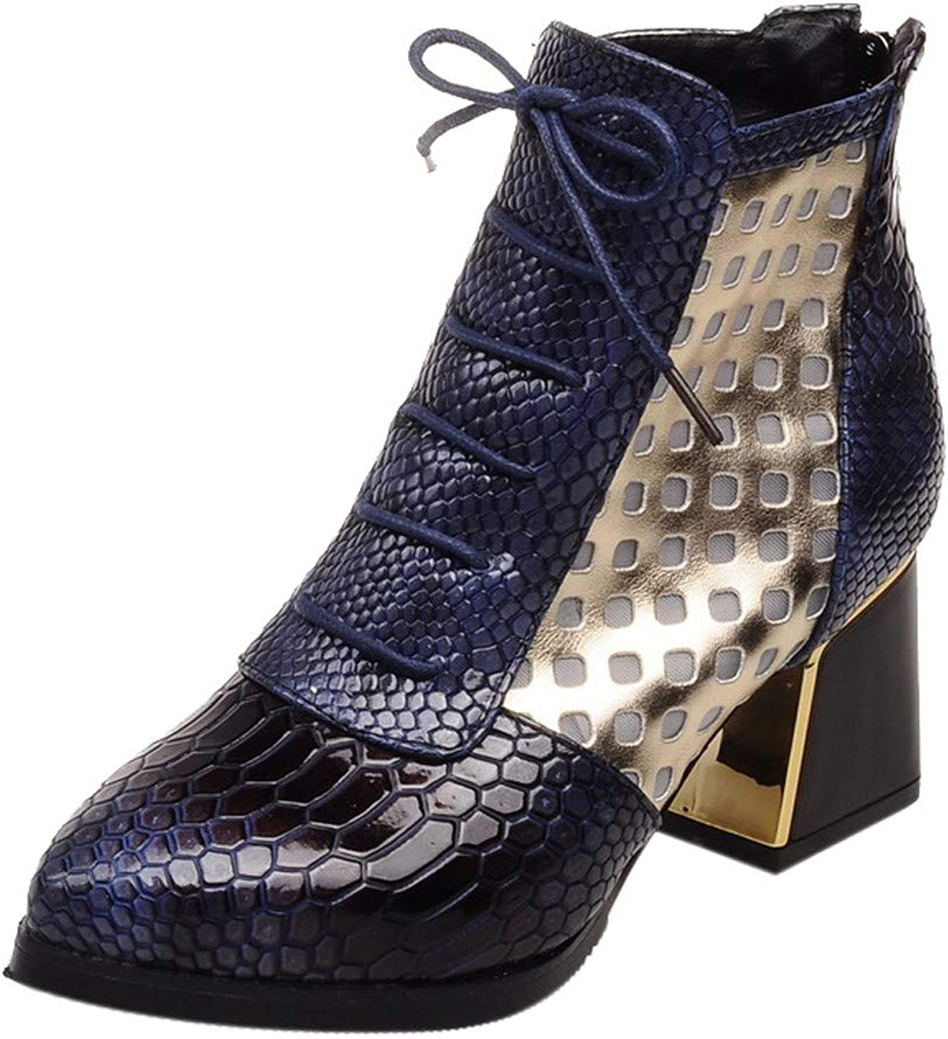 Sonmer Women Fashion Snake Pattern Ankle Boots High Heels Short Boots Pointed Toe Winter shoes (bluee, 6)