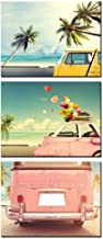 iKNOW FOTO 3pcs Canvas Prints Vintage Classic Car with Heart Colorful Balloon on Beach Blue Sky Wall Art Love in Summer and Wedding Posters Framed Honeymoon Trip Picture Print Ready to Hang