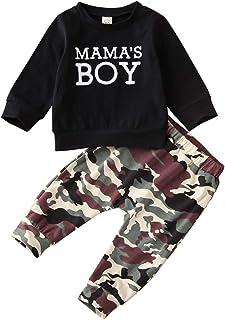 Geagodelia - Conjunto de 2 piezas para bebé de manga larga y pantalones de chándal de camuflaje