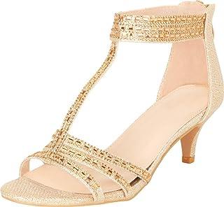 Cambridge Select Women`s T-Strap Open Toe Crystal Rhinestone Mid Kitten Heel Sandal