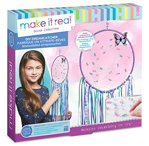 Make It Real - DIY Dreamcatcher. Make Your Own Dream Catcher Arts and Crafts Kit for Tween Girls. Includes Dream Catcher Hoop, Strings and Ribbons, Beads, Butterfly Pin and More