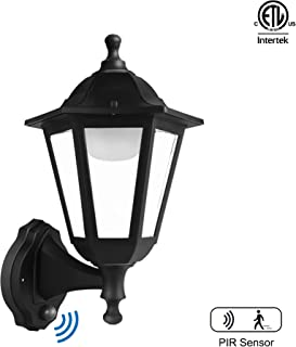 FUDESY Traditional Style LED Outdoor Wall Lantern with Motion Sensor, Black Polypropylene Plastic Porch Lamp with Clear Acrylic Lenses, Waterproof Porch Light Fixtures,P616-PIR