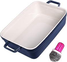 Glaze Bakeware Ceramic Baking Dish Rectangular Baking Pans for Cooking Cake Dinner Kitchen 15 x 10 Inches Dark Blue