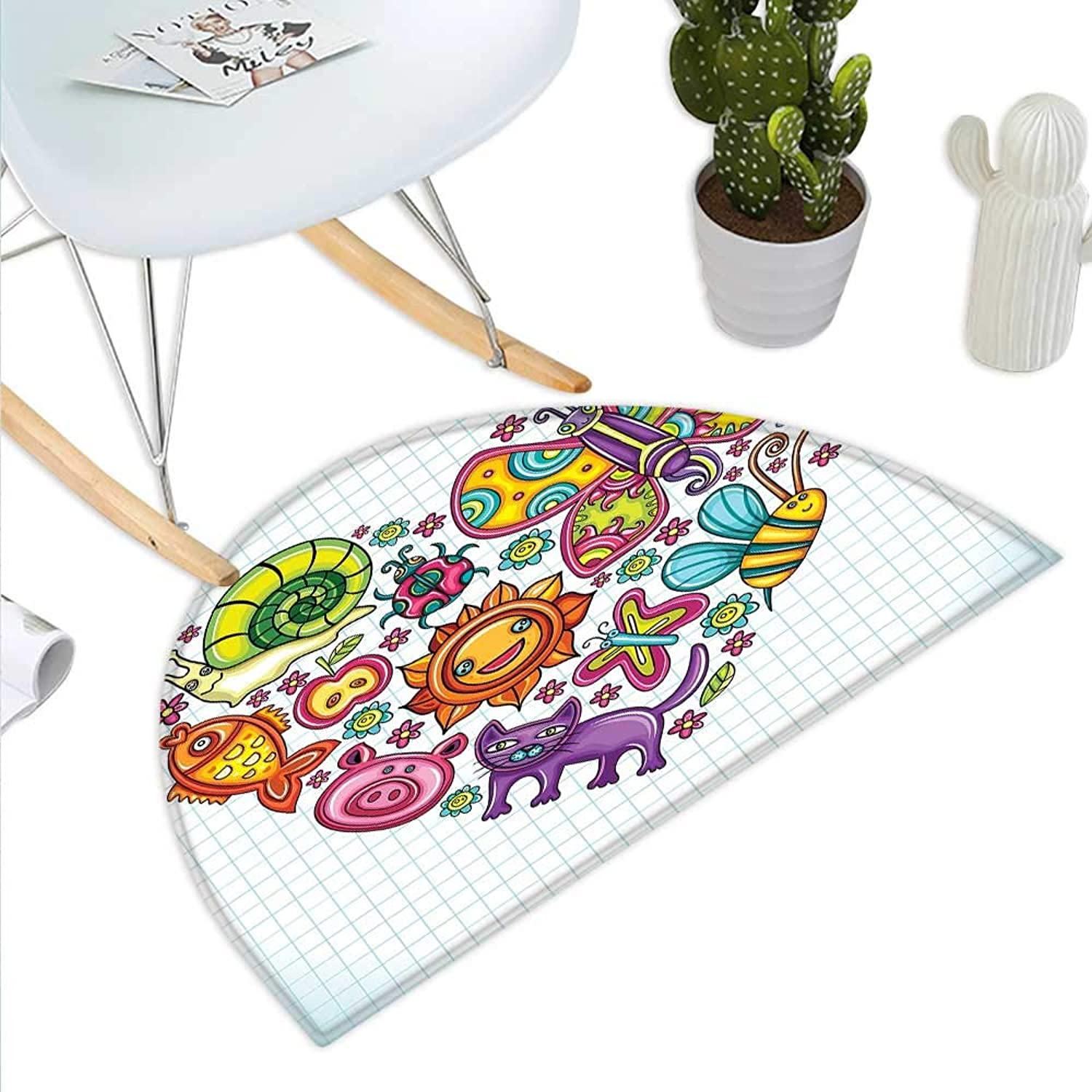 Doodle Semicircle Doormat Flora and Fauna Themed Heart Animals Birds and Plants Bumblebee Ladybug Leafs Cat Halfmoon doormats H 23.6  xD 35.4  Multicolor