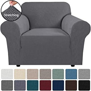 """H.VERSAILTEX Stretch Chair Slipcover Sofa Cover Furniture Protector Cover High Spandex Small Checks Knitted Jacquard Sofa Cover Chair Covers for Living Room (Armchair 32""""-48"""", Grey)"""