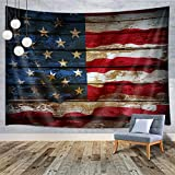 MERCHR American Flag Tapestry Wall Hanging, Vintage Rustic Stars and Stripes USA Flag Tapestry Wall Tapestry for Dorm Bedroom Living Room College, Nail Included, 60' W x 40' L, USA Flag Small Tapestry