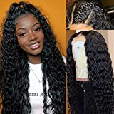 Glueless Lace Front Wigs Deep Wave Human Hair Lace Frontal Wigs with Baby Hair Can be Bleached Knots Pre Plucked Hairline Brazilian Virgin Hair Ear to Ear Lace Wigs for Black Women Deep Curly Wigs