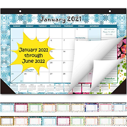 Desk Calendar 2021-2022 Monthly Pages 17 x 11-12 Inches Runs from January 2021 Through June 2022-18 Monthly DeskWall Calendar can be Used Throughout 2021