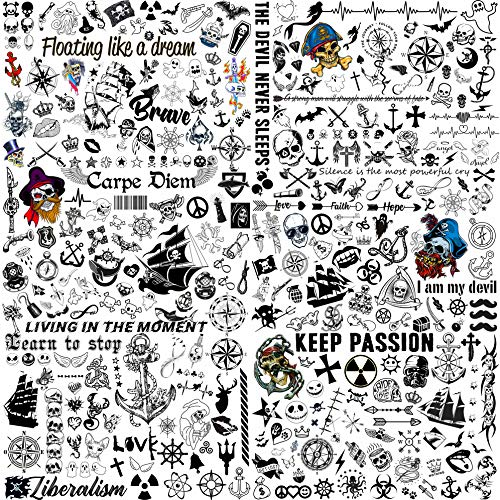 COKTAK 6 Sheets 300+ Designs Creative Skull Pirate Temporary Tattoos For Men Women Anchor Compass Ghost Skeleton Ship Boat Halloween Tattoos For Kids Tattoos Temporary Fake Arm Neck Face Tatoo Sticker
