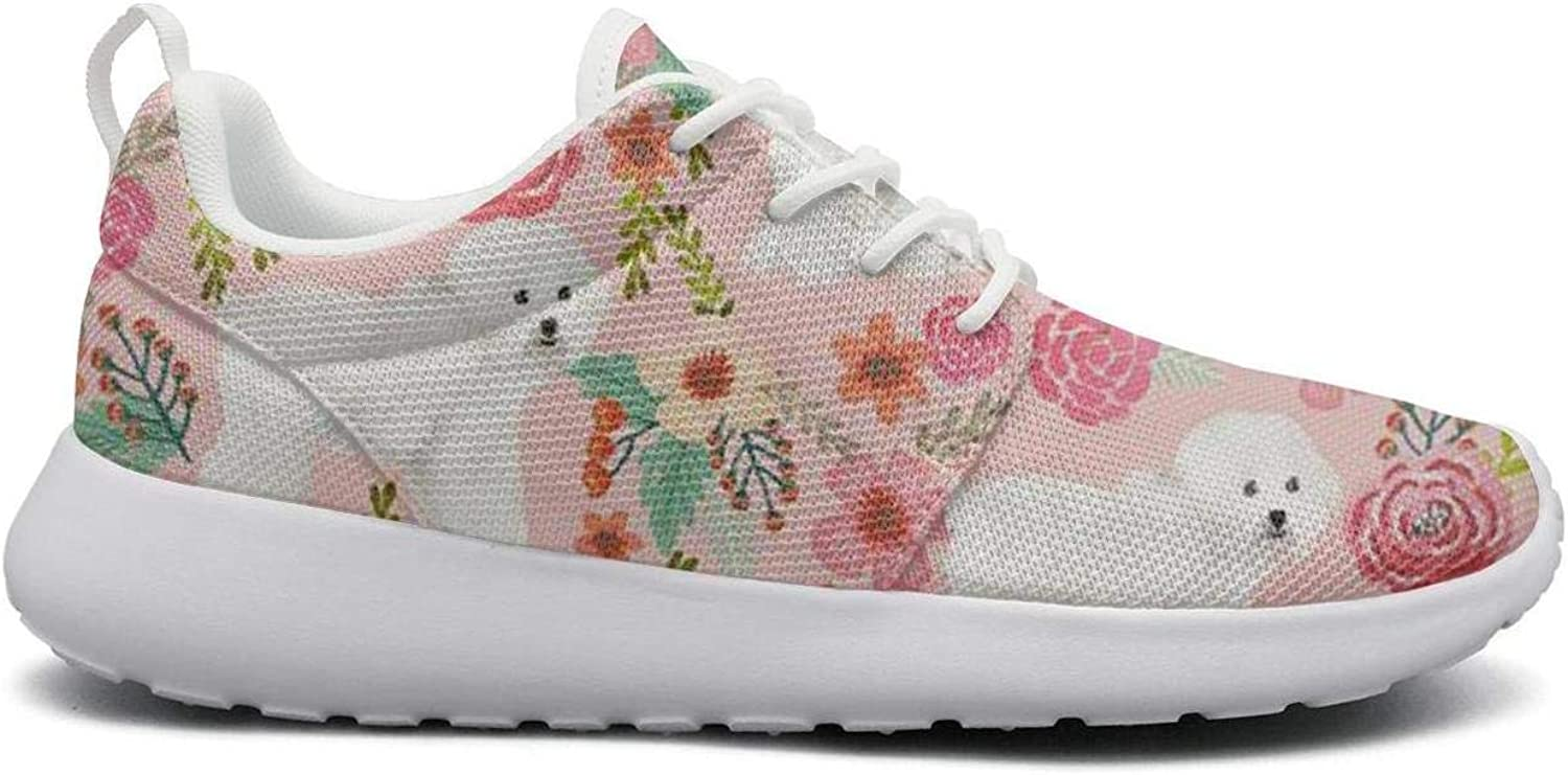 FEWW11 Women Cute Lightweight shoes Sneakers Bichon Frise Dog Pink Florals Vintage Breathable Running Lace-Up