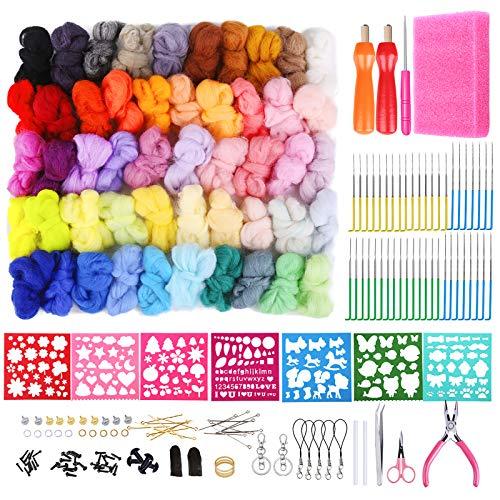 Needle Felting Kit, Wool Felting Kit, Wool Roving 50 Colors Set for Needle Felting, Needle Felting Kit with Fibre Wool Yarn Roving, Felting Needles, Wool Felt Mold, Felting Tool Instruction