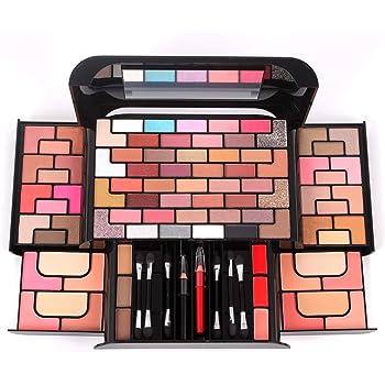 JasCherry Paleta de Sombras de Ojos 86 Colores de Estuche de Maquillaje Cosmético - Incluye Polvo de Cejas y Rubor y Polvos Compactos y Brillo Labios: Amazon.es: Belleza