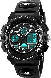 eYotto Kids Sports Watch Waterproof Boys Multi-Function Analog Digital Wristwatch LED Alarm Stopwatch Black