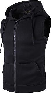 Sportides Men's Casual Gilet Waistcoat Hoodie Sleeveless Sweatshirt Vest JZA001