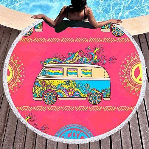 Toalla de Playa Redonda Manta Gruesa de Gran tamaño, Tela de Microfibra con Flecos de borlas, Tapiz con Estampado de Coche de Paz de Flores Coloridas extragrandes, Alfombra de Campamento sin Arena de