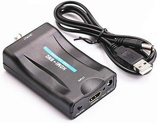 Adaptador convertidor de señal de Video Compuesto HDMI a BNC Reproductor de DVD VHS PAL/NTSC para Proyecto de cámara de videovigilancia a TV (Negro)(JIO-S)