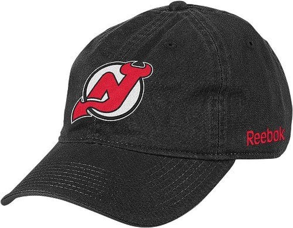 Reebok New Jersey Devils Logo Black Solid famous Outstanding Slouch Adjustable Buck